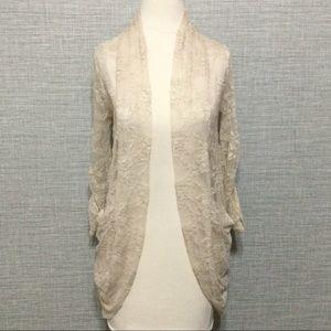Ivory Lace Open Front Cardigan MAUVE NWT Sz S
